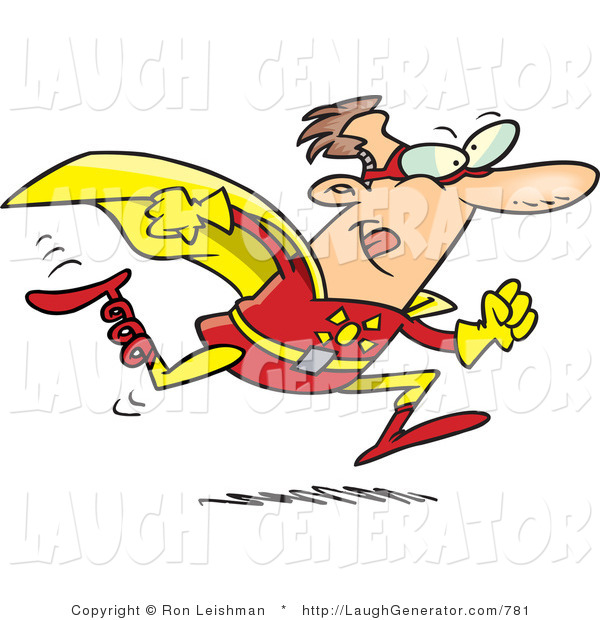 Humorous Clip Art of a Running Bionic Super Hero Man in Costume with a Spring Leg