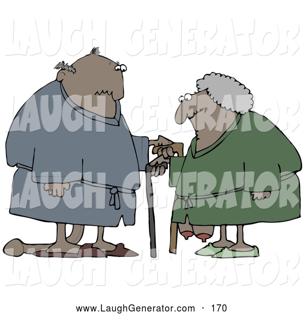 Humorous Clip Art of a Saggy Old African American Couple Wearing Robes, Using Canes and Looking at Each Other