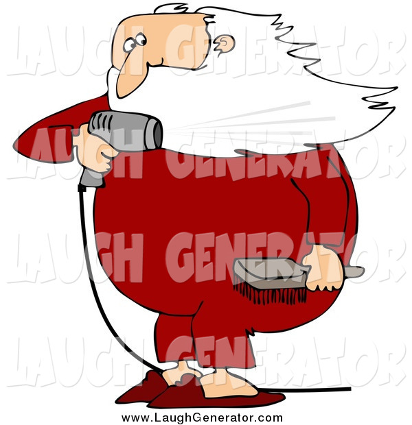 Humorous Clip Art of a Santa Claus Holding a Hair Brush and Blow Drying His Beard