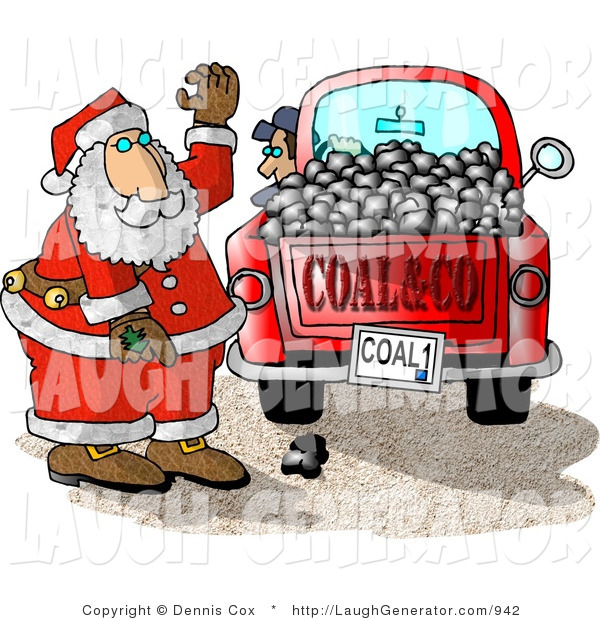 Humorous Clip Art of a Santa Claus with a Red Truck of Coal Ready for Delivery to Bad Boys and Girls on Christmas