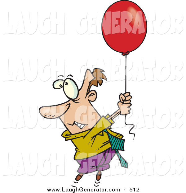Humorous Clip Art of a Scared Business Man Getting Carried Away by a Red Balloon