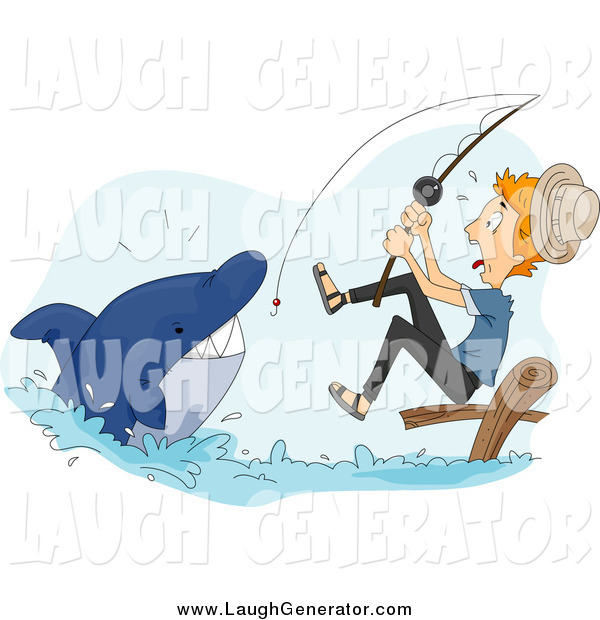 Humorous Clip Art of a Scared White Man Reeling in a Shark While Fishing