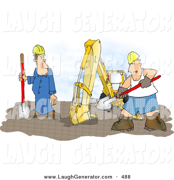 Humorous Clip Art of a Silly Construction Worker Man Wearing Boxer Shorts While Working Beside an ExcavatorSilly Construction Worker Man Wearing Boxer Shorts While Working Beside an Excavator