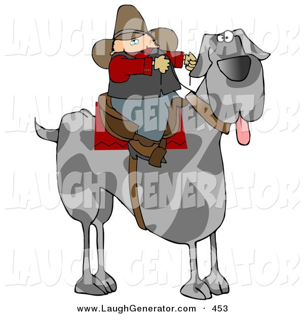 Humorous Clip Art of a Silly Cowboy Riding a Giant Great Dane Dog Instead of a Horse