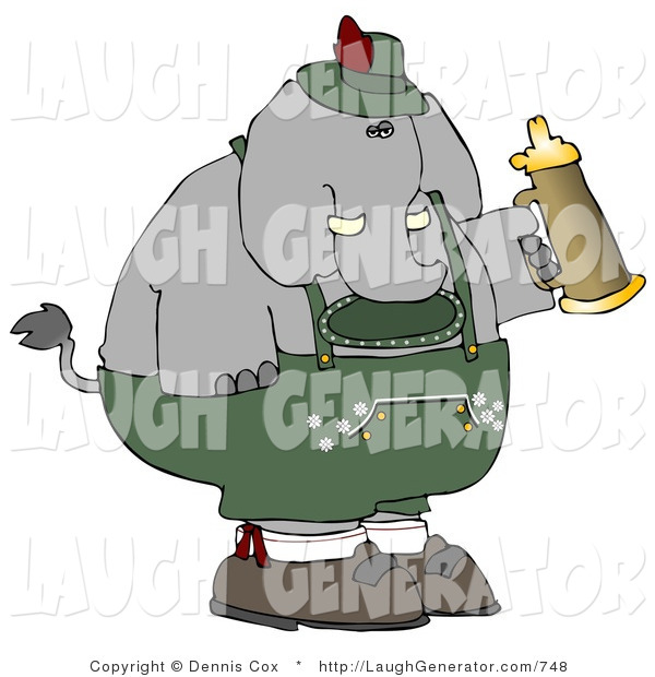 Humorous Clip Art of a Silly Elephant Holding a Beer Stein While Celebrating Oktoberfest - Holiday