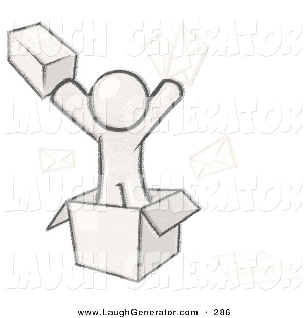 Humorous Clip Art of a Sketched Design Mascot Man Going Postal with Parcels and Mail