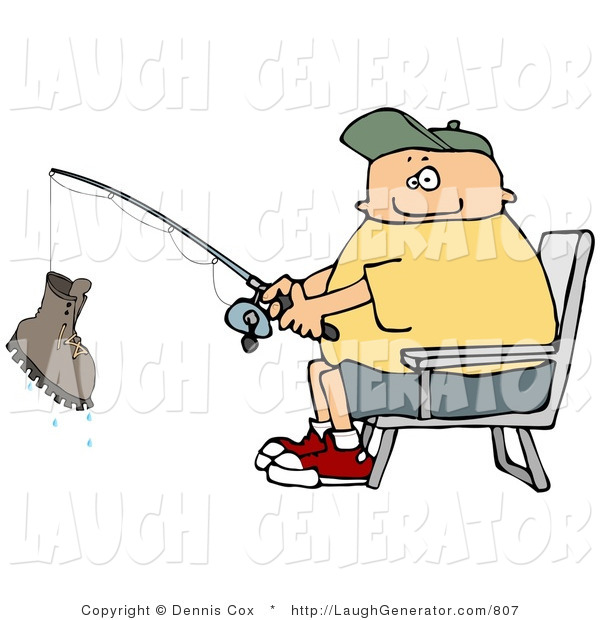 Humorous Clip Art of a Smiling Fisherman Catching a Boot with a Fishing Pole - Fishing Humor