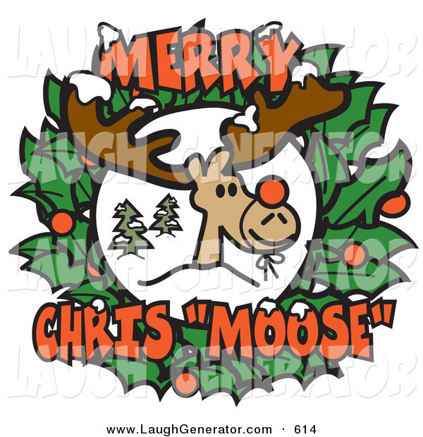 Humorous Clip Art of a Smiling Reindeer with a Red Nose Tied on in the Center of a Christmas Wreath with Text Reading Merry Chris Moose