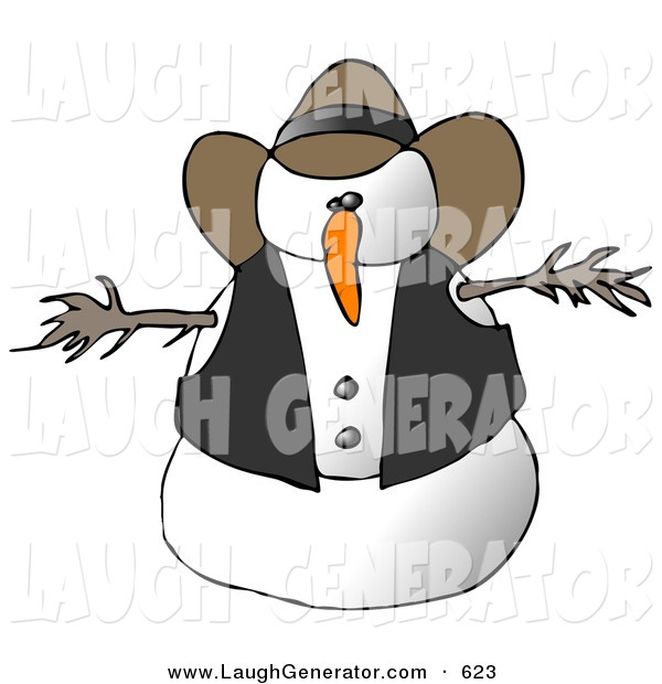Humorous Clip Art of a Snowman Cowboy on White