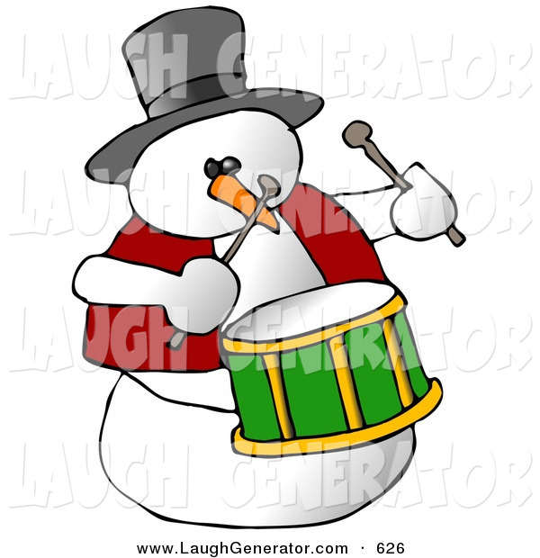Humorous Clip Art of a Snowman Drummer Playing the Drums and Looking Right