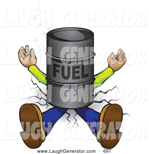 Humorous Clip Art of a Squashed Man Lying Flat, Crushed into the Ground Under a Barrel of Fuel
