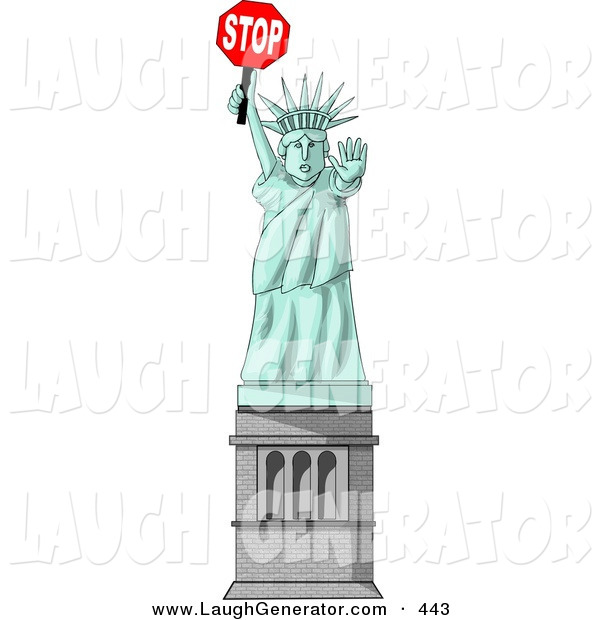 Humorous Clip Art of a Statue of Liberty Holding a Stop Sign and Looking Ahread