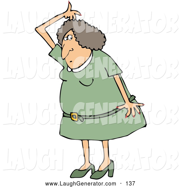 Humorous Clip Art of a Stinky Caucasian Woman in a Green Dress and Heels, Lifting Her Arm up over Her Head and Sniffing Her Armpit for Odor