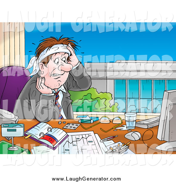 Humorous Clip Art of a Stressed Caucasian Businessman Sweating at His Desk and Staring at His Computer