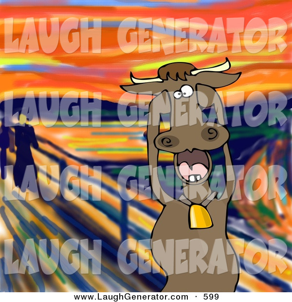 Humorous Clip Art of a Stressed out Brown Dairy Cow with Bell Holding Its Hooves to Its Cheeks While Screaming, a Humorous Parody of the Scream by Edvard Munch