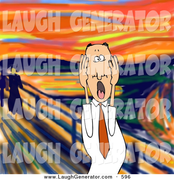 Humorous Clip Art of a Stressed out Caucasian Business Man Holding His Cheeks While Screaming