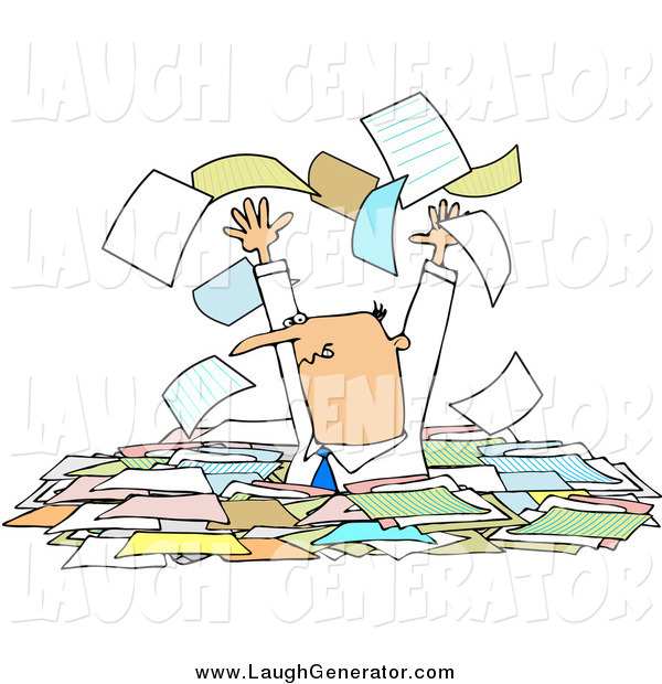 Humorous Clip Art of a Stressed White Male Manager Standing Chest High in Paperwork, Tossing Pages into the Air