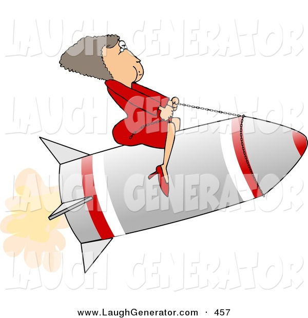 Humorous Clip Art of a Successful Businesswoman Riding a Rocket to the Right