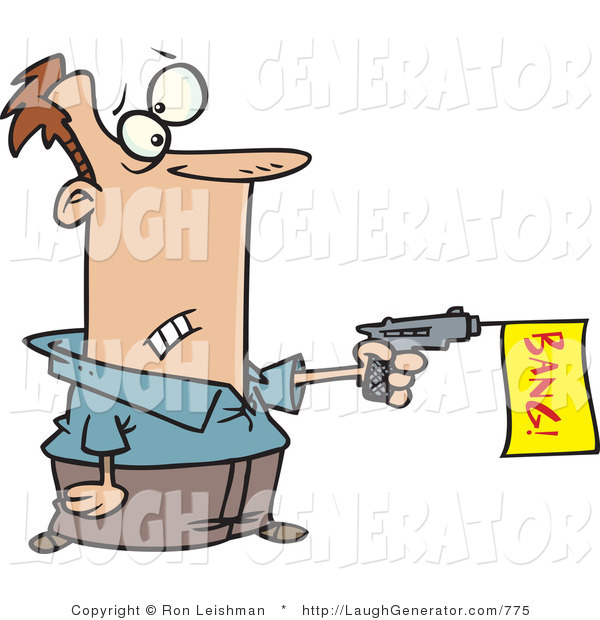 Humorous Clip Art of a Surprised Man Shooting a Dud Gun with a Bang Flag