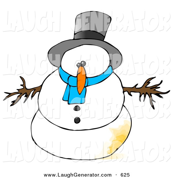 Humorous Clip Art of a Surprised Snowman with a Patch of Pee on Him