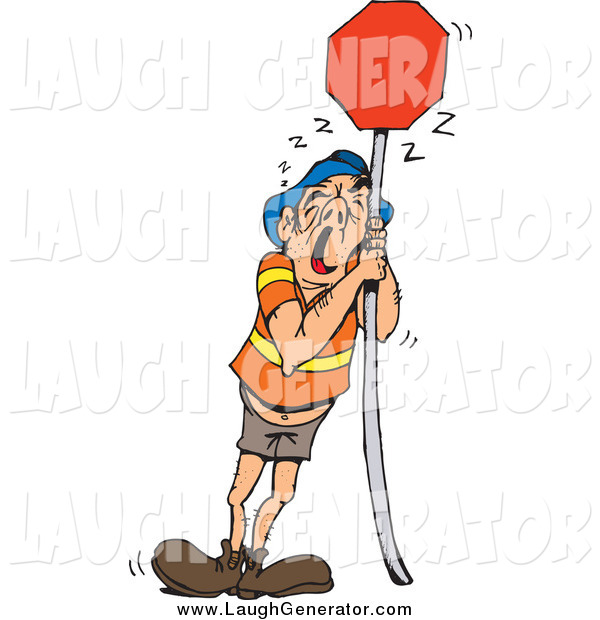 Humorous Clip Art of a Tired White Man Leaning Against a Blank Red Sign
