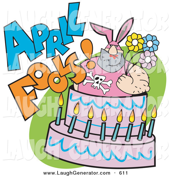 Humorous Clip Art of a Tough Man in a Pink Bunny Suit Holding Flowers and Popping out of an April Fools Cake on White