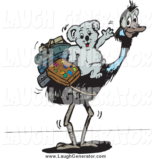 Humorous Clip Art of a Traveling Koala Riding an Ostrich