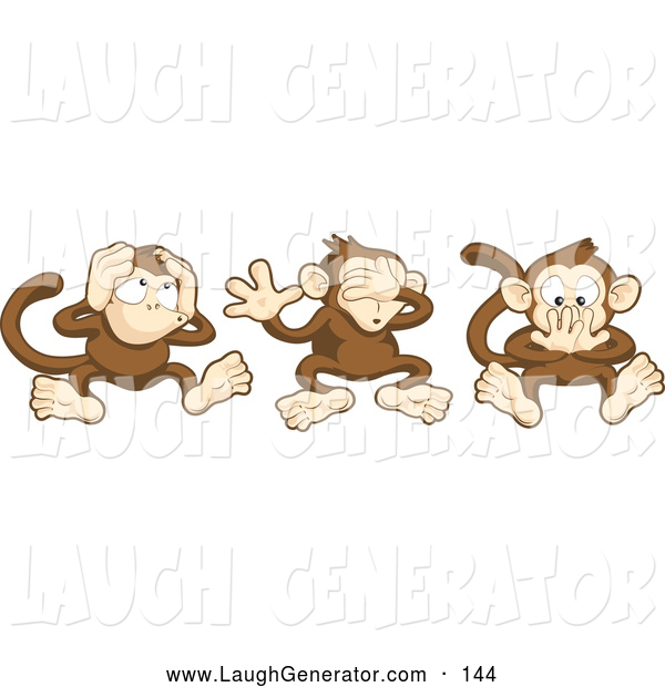 Humorous Clip Art of a Trio of Wise Monkeys, Mizaru, Kikazaru, and Iwazaru, Covering Their Ears, Eyes and Mouth, Hear No Evil, See No Evil, Speak No Evil