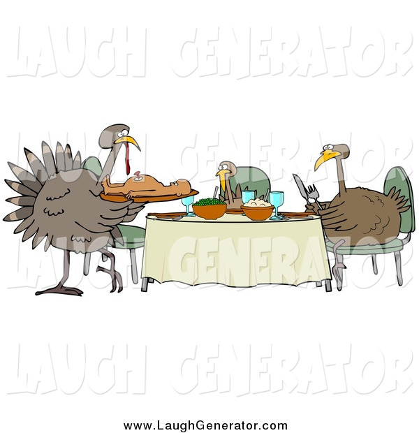 Humorous Clip Art of a Turkey Bird Family Dining on a Man