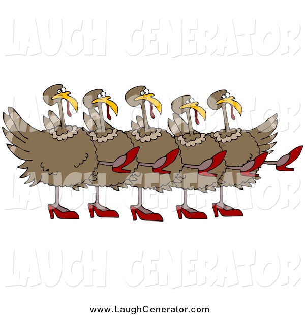 Humorous Clip Art of a Turkey Birds in High Heels, Kicking Their Legs up While Dancing in a Chorus Line