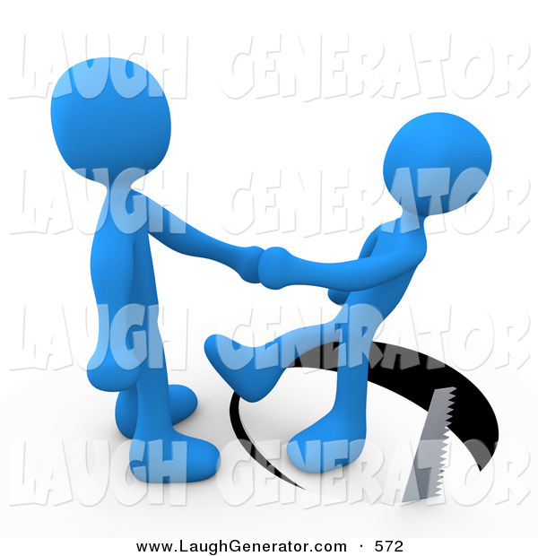 Humorous Clip Art of a Unsuspecting Blue Person Shaking Hands on a Deal with Another Man As a Saw Cuts a Circle out from Under Him and He Slips on White