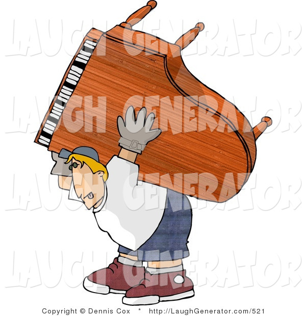 Humorous Clip Art of a Very Strong Man Moving a Heavy Grand Piano