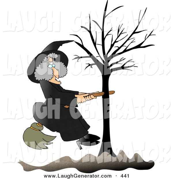 Humorous Clip Art of a Warty Old Female Witch in Black, Sitting on a Broom That Is Stuck in a Bare Tree
