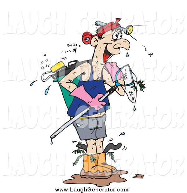 Humorous Clip Art of a Wet White Man with Fishing Gear