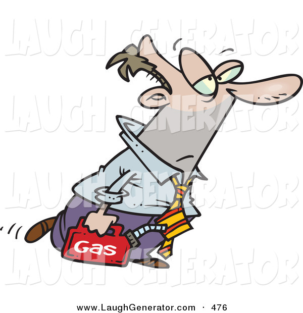 Humorous Clip Art of a White Business Man Walking with a Can of Gasoline Because His Car Ran out of Gas