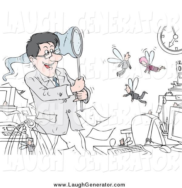 Humorous Clip Art of a White Businessman Boss Chasing Fly Employees with a Net
