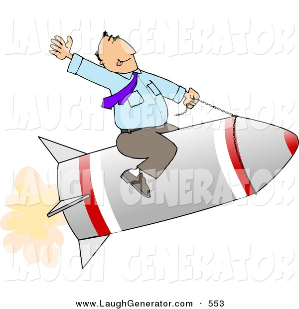 Humorous Clip Art of a White Businessman Flying on a Rocket