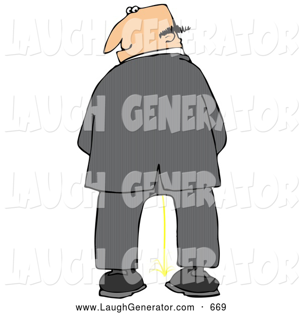 Humorous Clip Art of a White Caucasian Business Man Urinating and Looking Back over His Shoulder