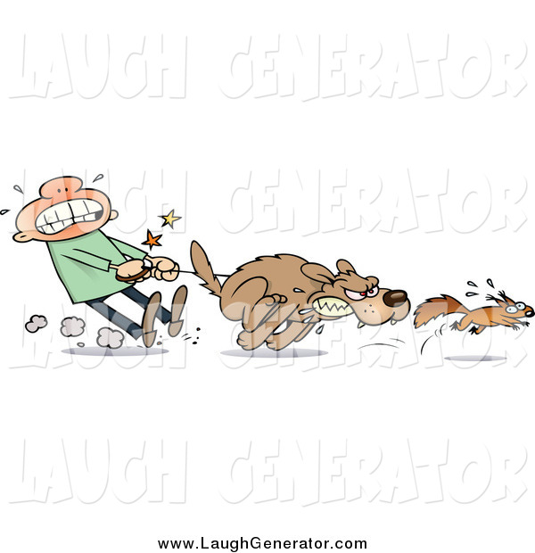 Humorous Clip Art of a White Guy Struggling to Hold Back His Dog from Chasing a Squirrel