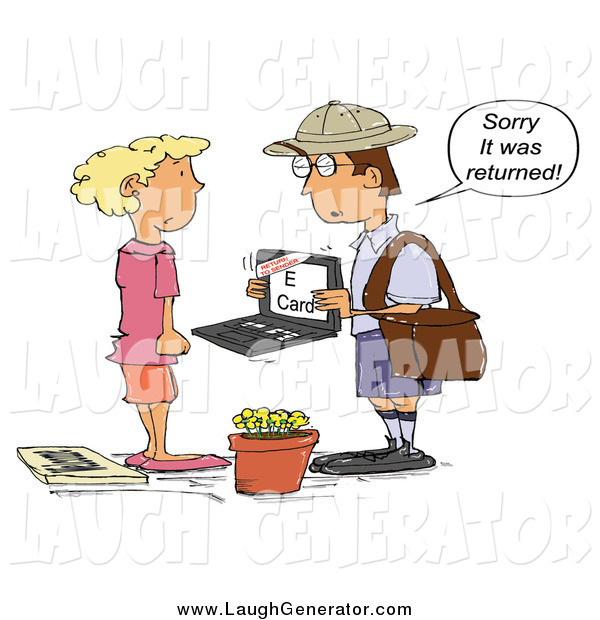 Humorous Clip Art of a White Mailman Holding a Laptop with an E-Card and Telling a Woman That It Was Returned to Sender