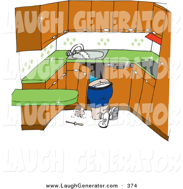 Humorous Clip Art of a White Male Plumber Kneeling to Work on Pipes Under a Sink