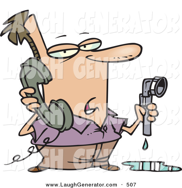 Humorous Clip Art of a White Man with a Leaky Pipe, Calling a Plumber