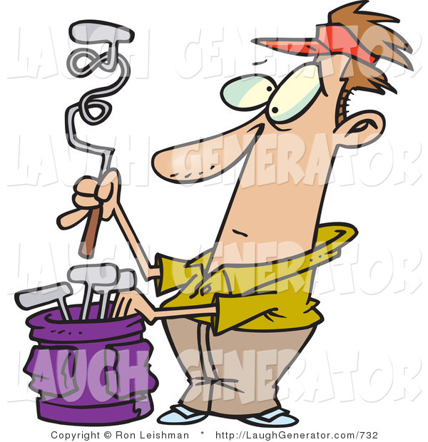 Humorous Clip Art of a Wide Eyed Male Golfer with a Twisted Club