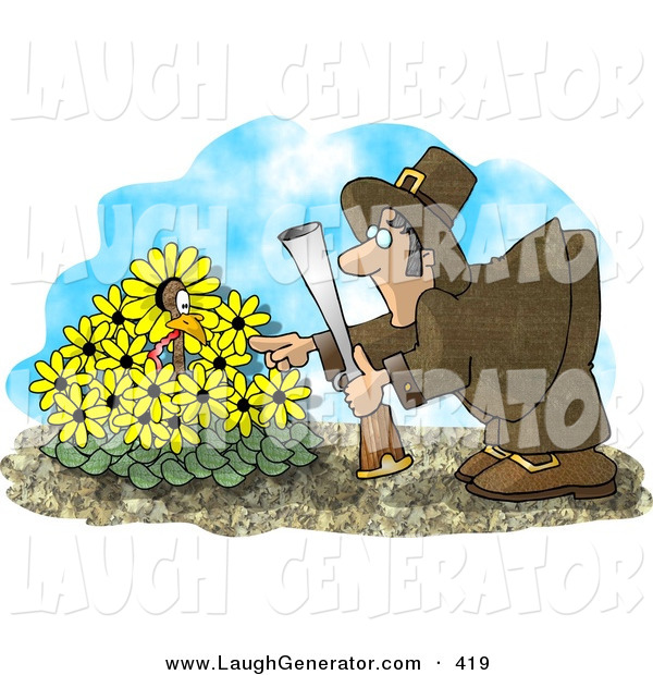Humorous Clip Art of a Wild Turkey in a Yellow Daisy Patch, Hiding from a Pilgrim with a Shot Gun