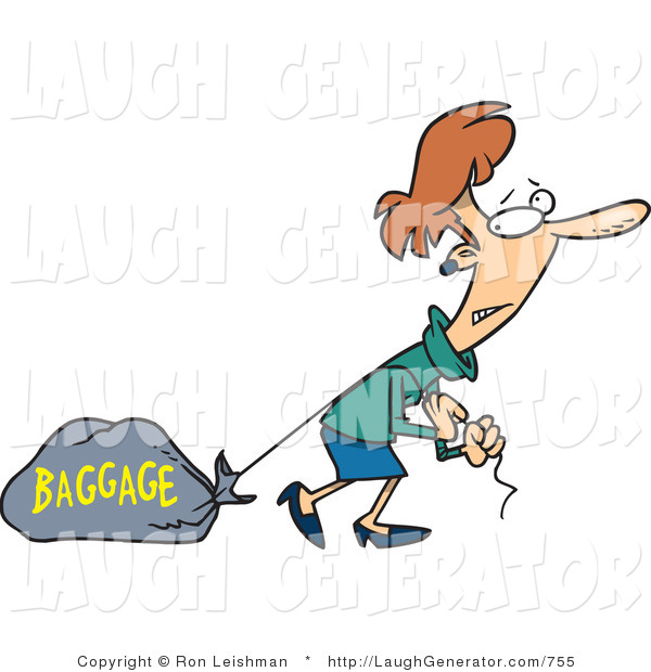 "Humorous Clip Art of a Woman Pulling a Heavy Bag Behind Her That Reads ""Baggage"""