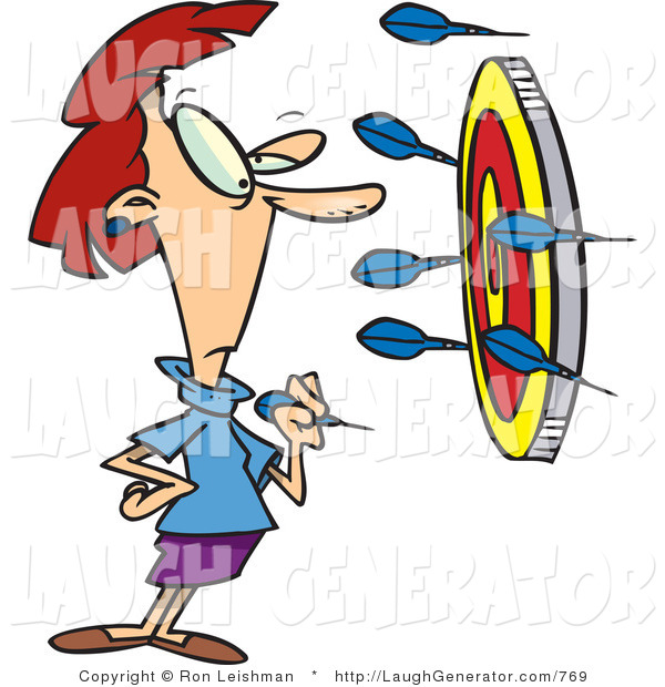 Humorous Clip Art of a Woman Throwing Darts at a Target, Missing the Bullseye