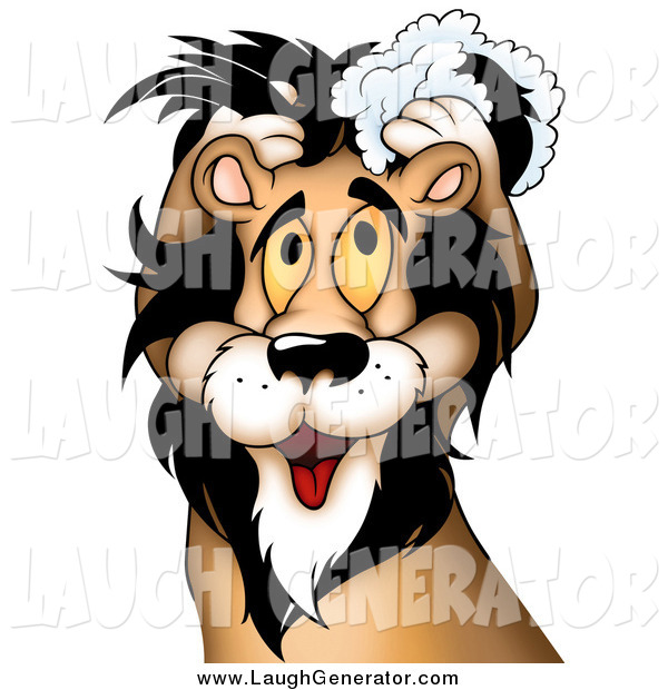 Humorous Clip Art of a Yellow Eyed Male Lion Washing His Luxurious Mane with Shampoo