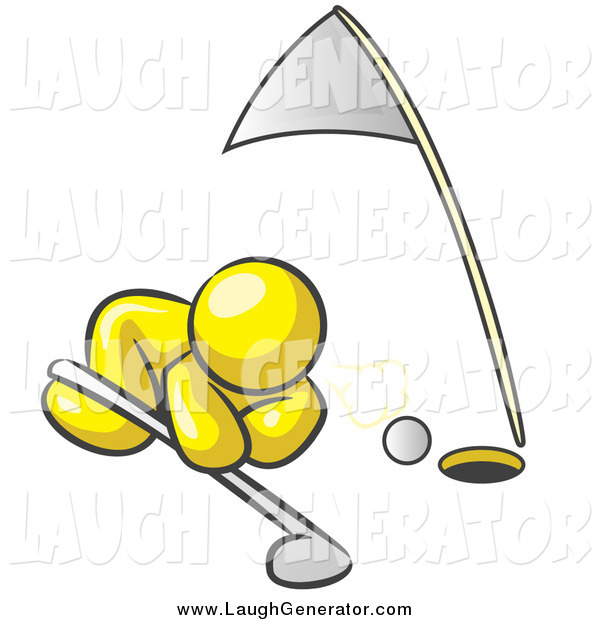 Humorous Clip Art of a Yellow Man Trying to Blow a Golf Ball into the Hole