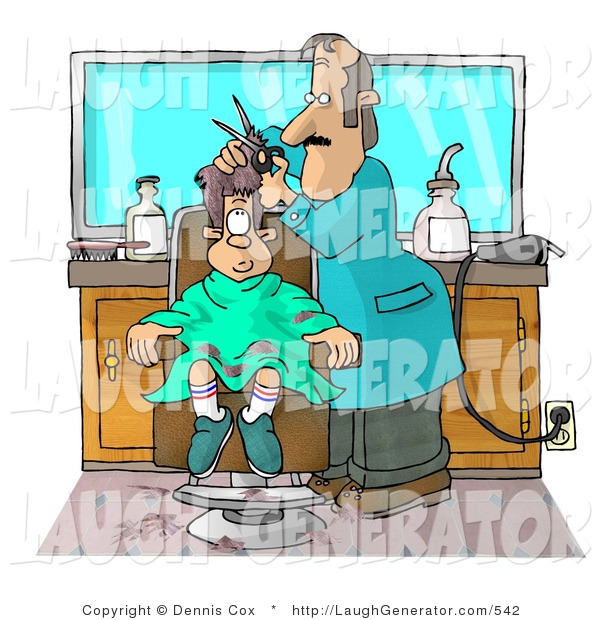 Humorous Clip Art of a Young Boy Getting His First Haircut at a Professional Barbershop