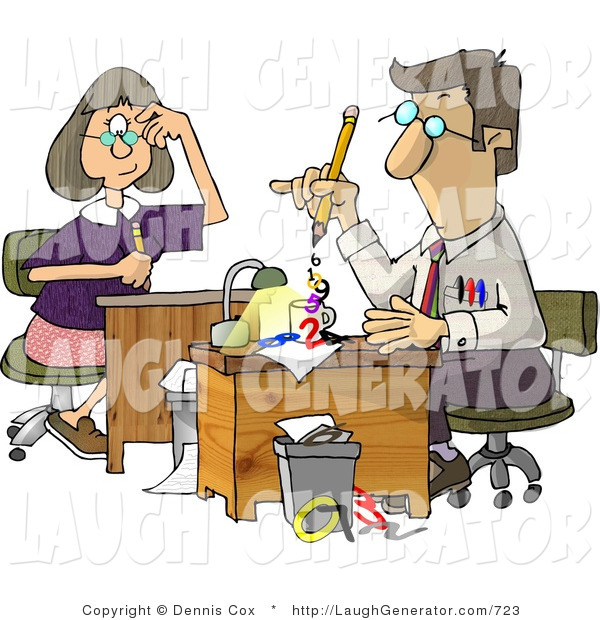 Humorous Clip Art of Accountants Hard at Work